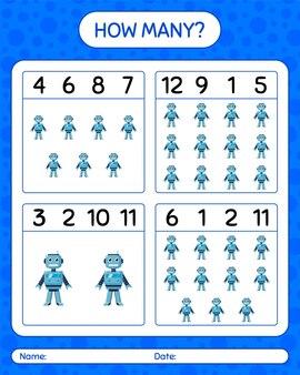 Quantos jogos de contagem com o brinquedo do robô. planilha para crianças em idade pré-escolar, planilha de atividades para crianças