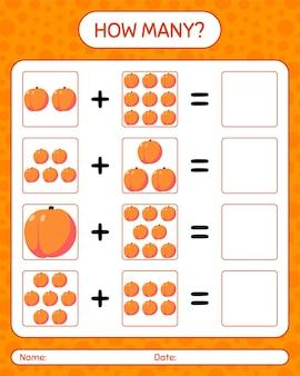Quantos jogos de contagem com pêssego. planilha para crianças em idade pré-escolar, planilha de atividades para crianças, planilha para impressão