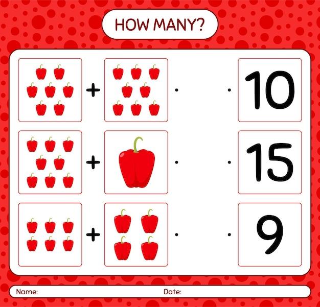 Quantos jogos de contagem com pimentão. planilha para crianças em idade pré-escolar, planilha de atividades para crianças, planilha para impressão