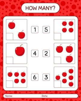 Quantos jogos de contagem com planilha de frutas para crianças em idade pré-escolar, planilha de atividades para crianças, planilha para impressão