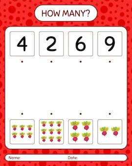 Quantos jogos de contagem com raiz de beterraba. planilha para crianças pré-escolares
