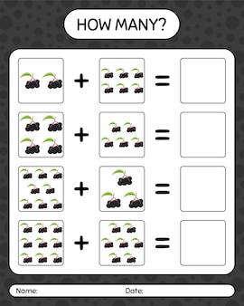 Quantos jogos de contagem com sabugueiro. planilha para crianças em idade pré-escolar, planilha de atividades para crianças, planilha para impressão