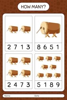 Quantos jogos de contagem com tambor bedug. planilha para crianças em idade pré-escolar, planilha de atividades para crianças, planilha para impressão