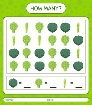 Quantos jogos de contagem com vegetais. planilha para crianças em idade pré-escolar, planilha de atividades para crianças, planilha para impressão