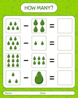Quantos jogos de contagem de abacate. planilha para crianças em idade pré-escolar, planilha de atividades para crianças, planilha para impressão