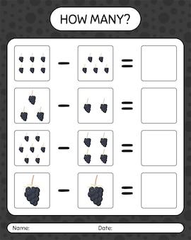Quantos jogos de contagem de amora. planilha para crianças em idade pré-escolar, planilha de atividades para crianças, planilha para impressão