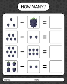 Quantos jogos de contagem de amora-preta. planilha para crianças em idade pré-escolar, planilha de atividades para crianças, planilha para impressão