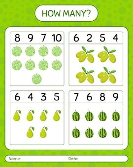 Quantos jogos de contagem de limão kaffir, kiwi, melão, azeitona. planilha para crianças em idade pré-escolar, planilha de atividades para crianças, planilha para impressão