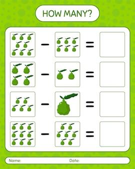 Quantos jogos de contagem de limão kaffir. planilha para crianças em idade pré-escolar, planilha de atividades para crianças, planilha para impressão