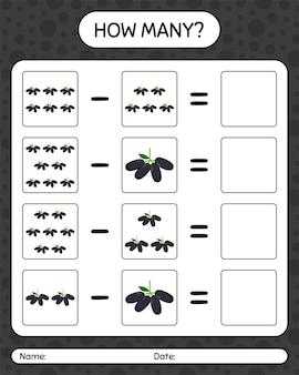 Quantos jogos de contagem jambolan. planilha para crianças em idade pré-escolar, planilha de atividades para crianças, planilha para impressão