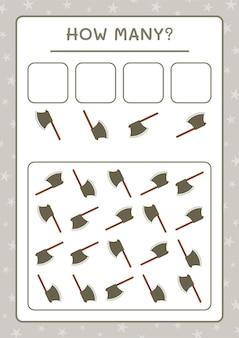 Quantos machados, jogo para crianças. ilustração vetorial, planilha para impressão