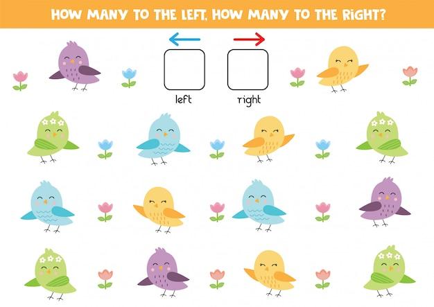 Quantos pássaros vão para a esquerda, quantos para a direita.