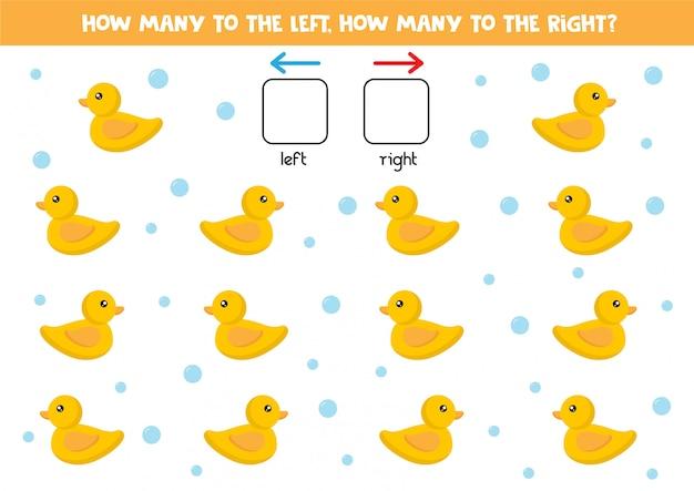 Quantos patos de brinquedo nadam para a direita e para a esquerda. jogo de lógica para crianças.