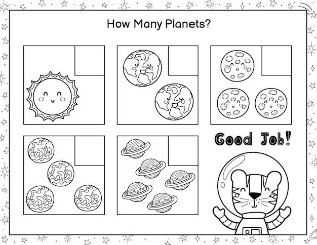 Quantos planetas você vê? conte e escreva o número jogo de matemática em preto e branco