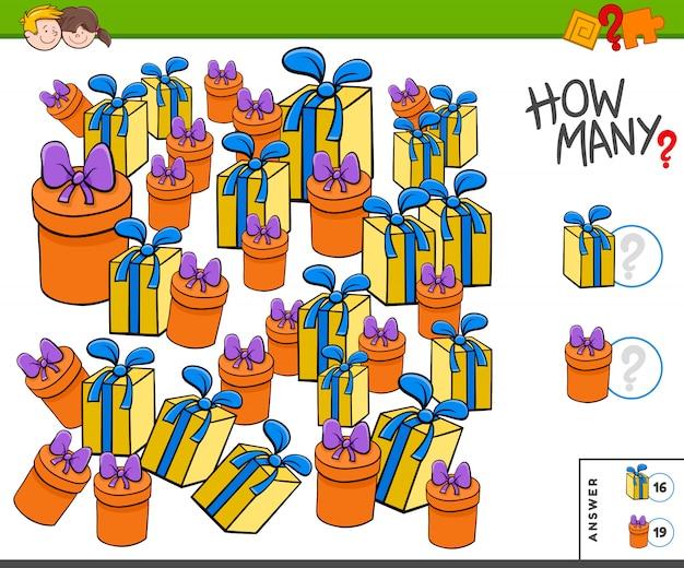 Quantos presentes ou brindes tarefa educacional