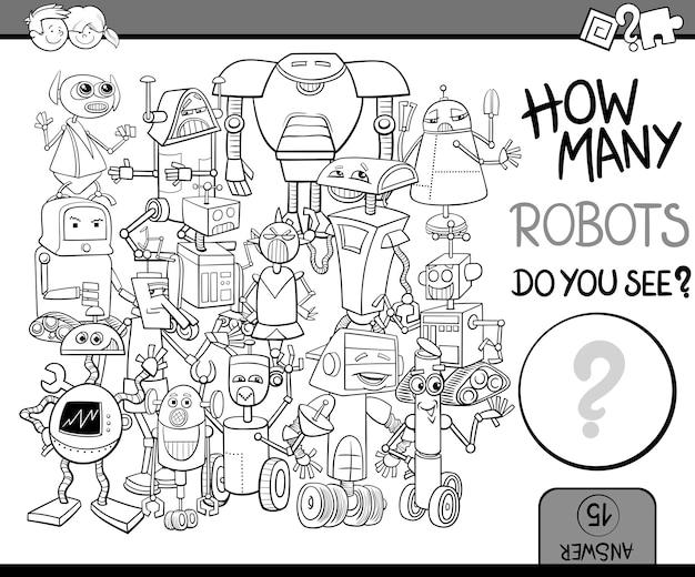 Quantos robôs coloriram a página