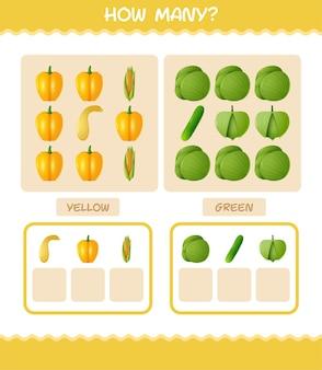 Quantos vegetais de desenhos animados. jogo de contagem. jogo educativo para crianças e bebês antes da idade escolar