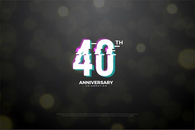 Quarenta aniversário com número de fatia em paz