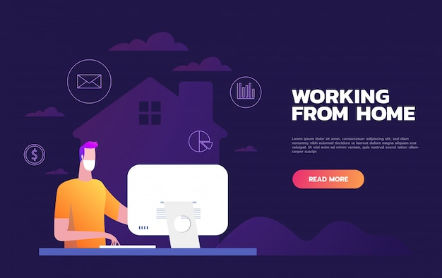 Quarentena 2019-ncov. homens trabalhando em casa. fique em casa. pânico por coronavírus. ilustração de pessoa isolada. freelance. vector plana