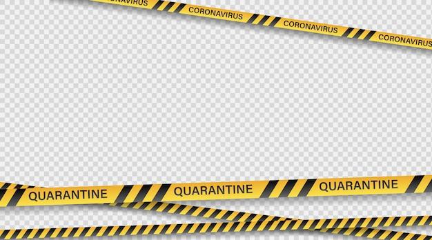 Quarentena de fita de perigo. fita de aviso de vedação. listras diagonais pretas e amarelas. fita epidêmica covid-19 laranja com inscrição de quarentena