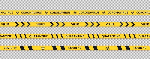 Quarentena de fita or¡oronavírus. listras amarelas e pretas de quarentena de aviso do coronavírus