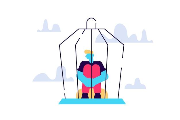 Quarentena de violência doméstica trava depressão e desespero, jovem personagem do sexo masculino sentado dentro de uma gaiola