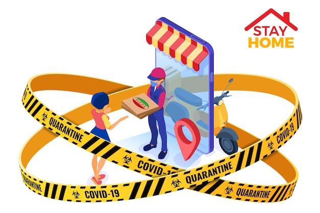 Quarentena do coronavírus fica em casa. serviço de entrega de encomendas e entrega de pacotes de comida online courier isométrico em máscara de advertência proteção de fita com pizza e scooter