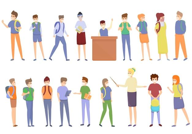 Quarentena no conjunto de ícones da escola. conjunto de desenhos animados de quarentena em ícones de escolas