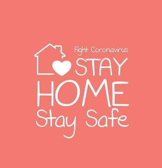 Quarentena para ficar em casa e aviso para parar o coronavírus covid19 espalhando tipografia de letras seguras