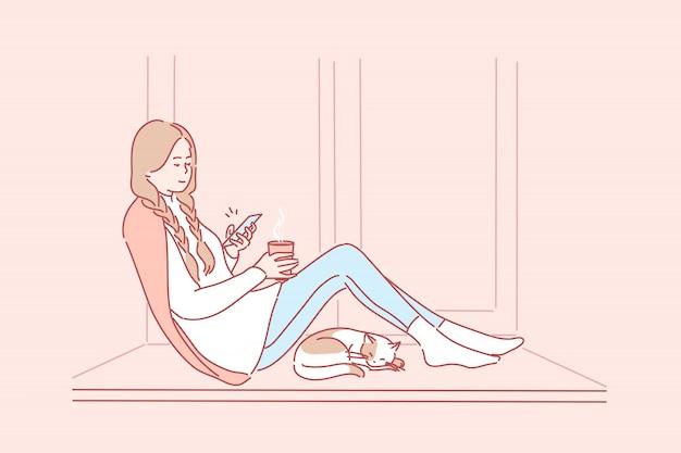 Quarentena, recreação, comunicação, relaxamento, mídias sociais, conceito de coronavírus