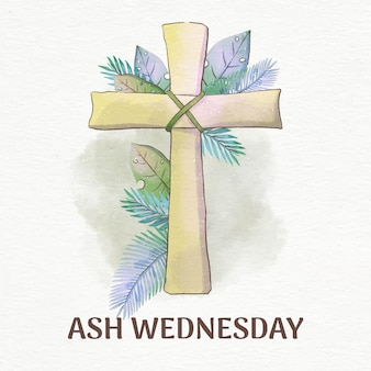 Quarta-feira de cinzas cruz em aquarela