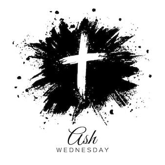 Quarta-feira de cinzas cruz em tinta preta
