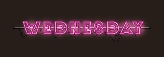 Quarta-feira fontes luzes de néon