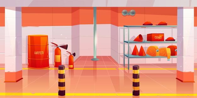 Quartel de bombeiros ou garagem despensa interior vazio