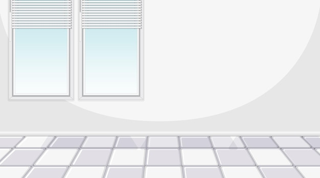 Quarto branco vazio com janelas e azulejos brancos