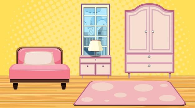 Quarto cama rosa e armário