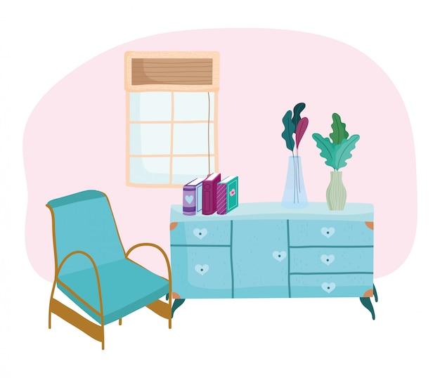 Quarto com cadeira móveis gavetas livros janela e planta em vasos, livro dia