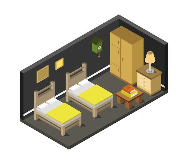 Quarto com cama isométrica