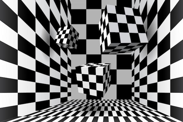 Quarto com cubos de xadrez