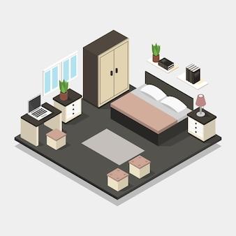 Quarto com ilustração de cama isométrica