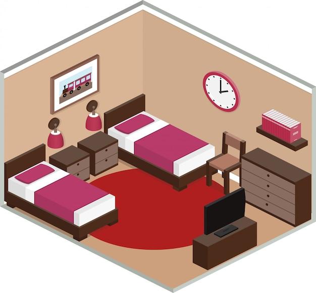 Quarto com móveis, incluindo duas camas e tv. interior moderno em estilo isométrico. ilustração d.