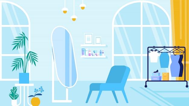 Quarto com salão de beleza interior azul e sala de exposições