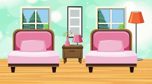 Quarto com sofá rosa e almofadas