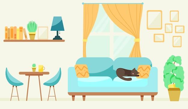 Quarto com um gato no sofá
