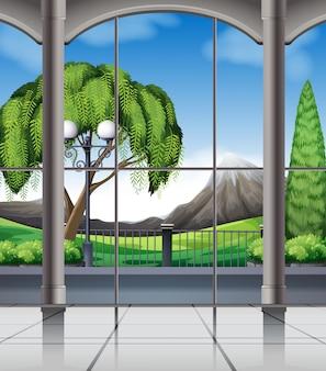 Quarto com vista da janela da natureza