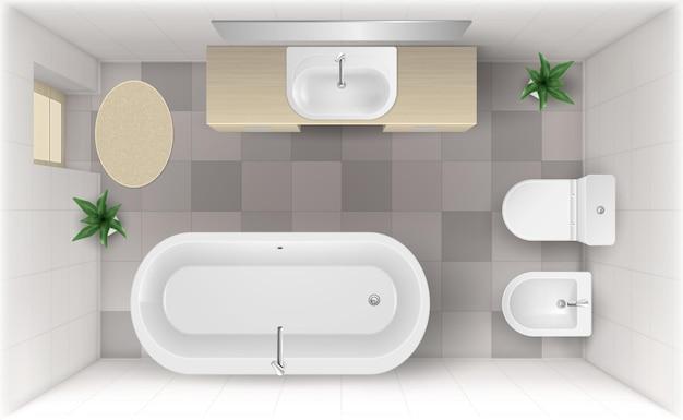 Quarto com vista superior interna do banheiro com banheira