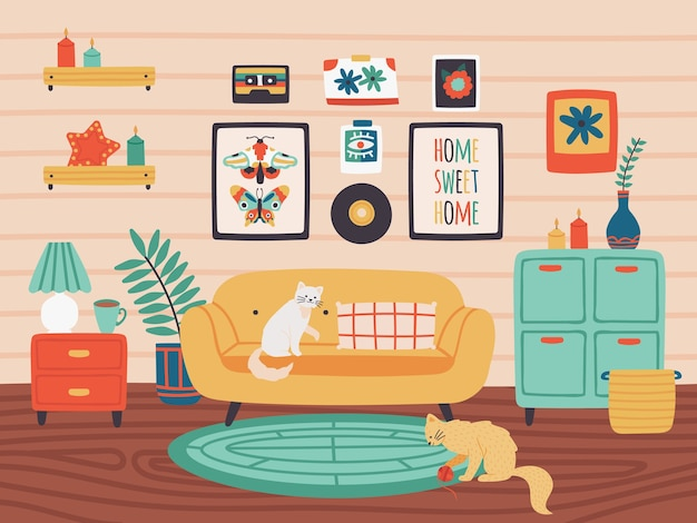 Quarto confortável com animais de estimação e plantas