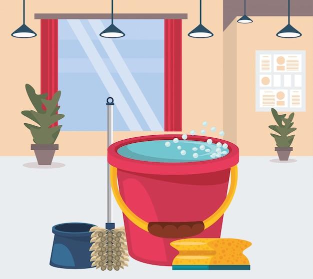 Quarto da casa com equipamento de limpeza