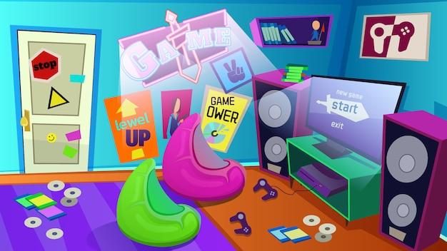 Quarto de adolescentes com play station, gamer apartment