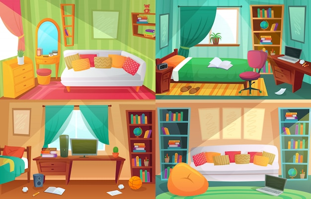 Quarto de adolescentes, sala de estudante desordenada, apartamento de casa de faculdade adolescente e desenhos animados de móveis de quartos de casa